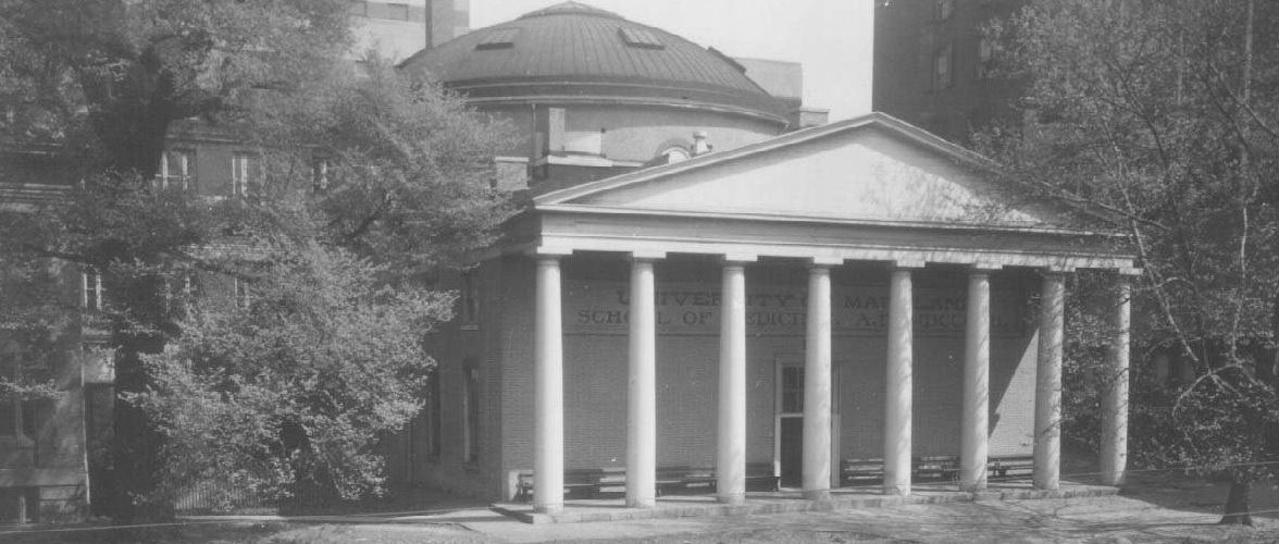 Davidge Hall at the corner of Lombard and Greene street