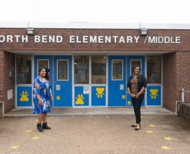 Nikita A. Parson (left), LCSW-C, a National Center for School Mental Health clinician at North Bend Elementary/Middle School in Baltimore, works closely with principal Patricia Burrell. Photo by Matthew D'Agostino