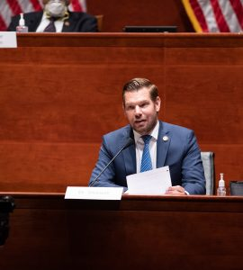 """""""You can't lead an insurrection and not be held accountable, even if it's in your last days in office,"""" says U.S. Rep. Eric Swalwell, JD '06, on why he thought it was important to proceed with President Trump's impeachment."""